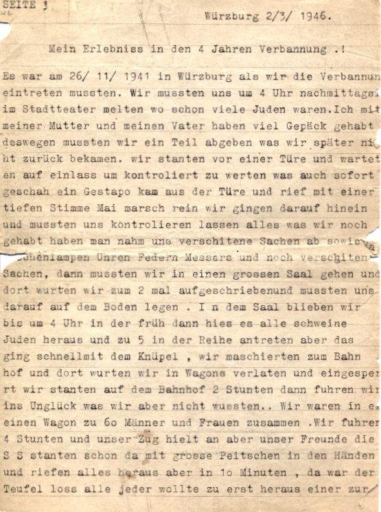 erste Seite des Berichts von Herbert Mai über seine Haft in Lagern und KZ's