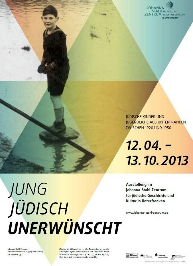 farbiges Plakat der Sonderausstellung jung-jüdisch-unerwünscht: darauf abgebildet ist ein Junge, der am Main spielt